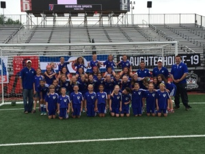 the U 11 and U 9 Carmel FC Girls at Indy 11 night May 16, 2015