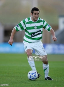 Here's Paul Telfer playing for Celtic FC in a Champions League Game.