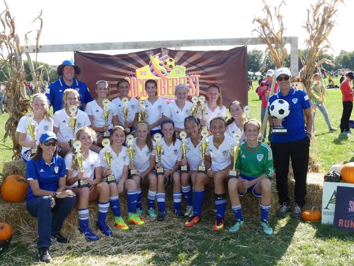 0425bd246 Coach Baker s U14 G Gold team took home the top level championship at  Socctoberfest this past weekend at Zionsville.